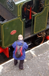 We spotted a train spotter ... he was writing the numbers down in a book and everything.